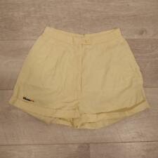 "Womens ELLESSE Vintage Yellow Pleated High Waist Tennis Shorts 24"" #C3400"