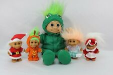 "Vintage Russ Troll Dolls Lot of 5, 12"" Green Frog Plush, Mr & Mrs Claus, Pumpkin"