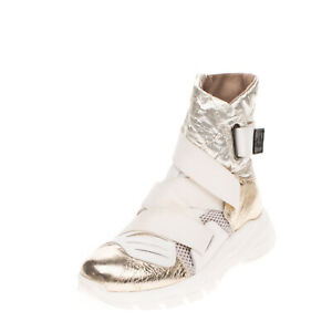 RRP €220 IXOS Sneaker Boots Size 39 UK 6 US 9 Contrast Leather Metallic Effect
