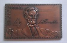 USA US Postage Stamp 4 Cents Bronze Plaque LINCOLN 1904 MEDAL COIN philately