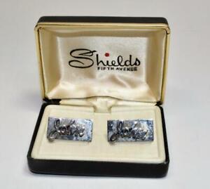 "NOS Shields Fifth Avenue mens ""John"" silver color cuff links  w box"