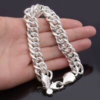 925 Silver Men's Cool Bracelet Link Chain Fashion Jewelry Lobster Clasp 8.66""