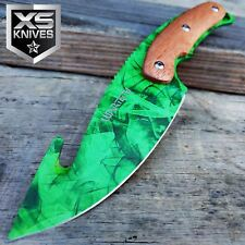 "9.5"" CS:GO Green Camo Hunting Fixed Blade Full Tang Tactical Bowie Gut Knife"