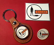 UFO - SHADO HIGH QUALITY KEY RING, GOLD PLATED BADGE & FREE  S.H.A.D.O.  STICKER