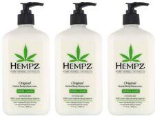 LOT of 3 Hempz Organic Hemp Original Herbal Body Moisturizer Lotion - 17 oz