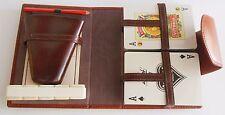 Travel Game Dice Leather Case Spain Vintage Fournier Vitoria 317 Cards Retro
