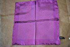 $145 NWOT TOM FORD Purple White SPOT hand rolled silk pocket square handkerchief