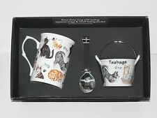 Cat mug, teabag tidy bucket and teabag squeezer tongs gift boxed