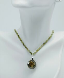 STERLING SILVER FERN GREEN CUBIC ZIRCONIA PENDANT NECKLACE