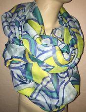 Infinity Womens Blue Green And Yellow Geometric Design Fashion Scarf