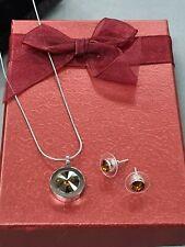 Modeschmuck Set aus Edelstahl Kette mit Ohrsteckern Swarovski Steine