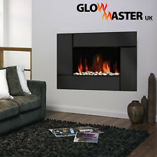 Led Electric Fire Wall Mounted Fireplace Black Glass Widescreen Flicker Flame