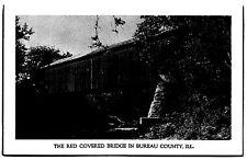 The Red Covered Bridge in Bureau County Princeton, Illinois Chrome Postcard New