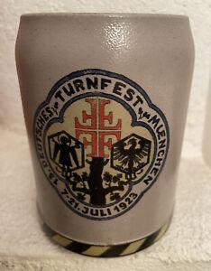 Humpen Bierkrug Deutsches Turnfest München 1923 Turnvater Jahn 4 F Sammelkrüge