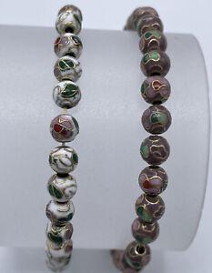 Lot 2 Vintage 6mm Round Cloisonne Bead Strand Bracelet Green White Pink Flower