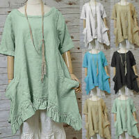 Women Cotton Linen Blouse Summer Beach Short Sleeve O Neck Top Plus Size T Shirt