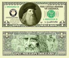 Leonardo da Vinci Classic-Style Million Dollar Bill Funny Money Novelty Note