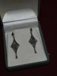Antique SOLID SILVER Art Deco MARCASITE Drop Dangle Earrings