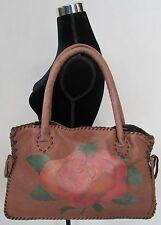 Boucher Santa Fe Handcrafted Large Leather Rose Satchel Bag w Suede Whip Stitch
