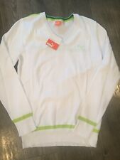 New Puma Sweater Womens Size XS Golf  Sweater White Lime Green Long Sleeve