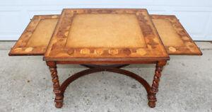 Jonathan Charles oyster veneer coffee table w slides leather inlay barley twist