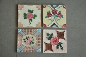 4 Pc Vintage Floral Multi Design Decorative Ceramic Tiles,Japan