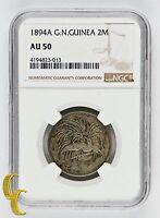 1894 A German New Guinea 2 Mark, NGC AU 50, Low Mintage 13,000! KM# 6