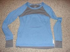 Reebok Womens XS Blue and Gray Long Sleeve Athletic Shirt Activewear