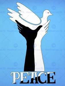 PROPAGANDA POLITICAL CIVIL RIGHTS AFRICAN AMERICAN B&W DOVE PEACE PRINT CC1709