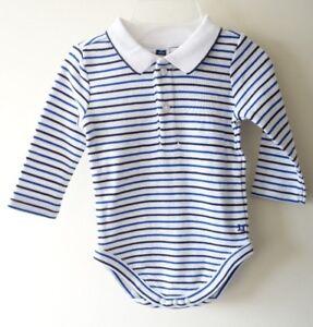 NWT Janie and Jack Pier Perfect Navy/White Stripe One Piece Shirt Boy's Sz 0-3M