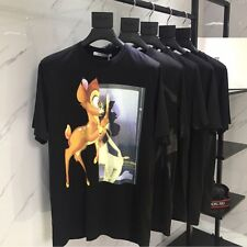 NWT AUTHENTIC GIVENCHY Men's Classic Bambi Printed T-Shirt Size Medium BLACK