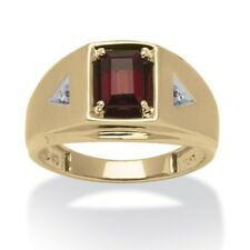 10K  SOLID GOLD EMERALD CUT GARNET DIAMOND ACCENTS RING SIZE 8 9 10 11 12 13