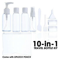 10in1 Holiday Air Travel Clear Bottle Set Vacation Small Portable Bottle Kit UK