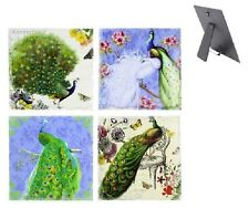 Colourful Peacock Design Collection Wall Art Hanging Plaque Standing (sets of 4)