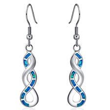 1 Pair Woman Fashion 925 Silver Jewelry Blue Fire Opal Charm Earring Pendant ~~~