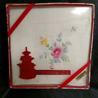 VINTAGE HAND IN EMBROIDERED IN CHINA HANDKERCHIEF