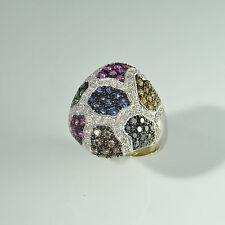 Statement Cognac Black Diamond Sapphire Ruby Tsavorite 18K Gold Cocktail Ring