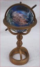 Armillary Sphere Miniature Brass Blown Glass Bowl Paperweight Desk Hand Crafted
