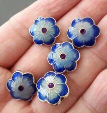 4 beads-enamel blue flower spacer beads 14mmX5mm