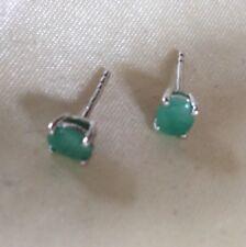 1/2 Ct Natural Kagem Zambian Emerald Earrings, Stud, Sterling Silver