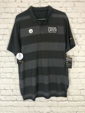 NIKE Pittsburgh Steelers Polo Sz L Crucial Catch Intercept Cancer Dri Fit NWT