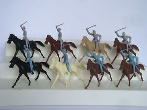 Marx Giant Blue & Gray / Complete Set of 8 Union & Confederate Cavalry w/ Horses