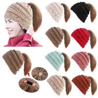 Women Girl's Hat Winter Warm Knit Cap Messy Bun Ponytail Beanie Hats