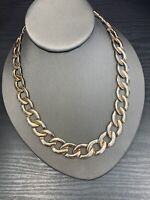 "Vintage 18"" Thick Chunky Flat Gold- Silver  1/2 Inch Wide Chain Necklace"