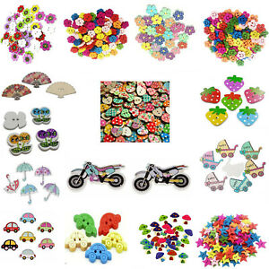 Wooden Buttons Colourful Sewing Knitting Crochet Scrapbook Decoration DIY Crafts