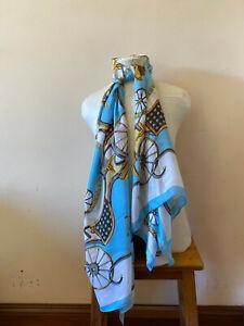 Blue Silk Long Scarf 176cms x 82cms. Carriages...