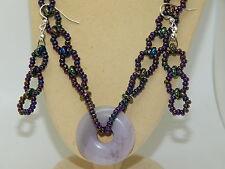 Natural Agate Donut Pendant & Metallic Czech Glass Beaded Necklace Set