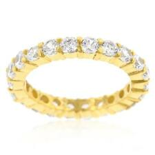 3.9 TCW Yellow Gold Round Cut CZ Stackable Eternity Wedding Band Ring-Size 8