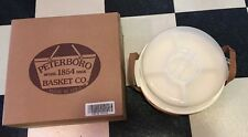 Peterboro Basket Lazy Susan / Divided Container Leather Handles Large Size