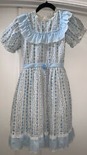 Vintage Lanz of Salzburg Beautiful Baby Blue Hearts Dress Size 10